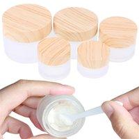 Frasco frasco de vidro fosco cuidados com a pele de creme de olho frasco recarregável frascos vazios de recipiente de cosméticos com peitas de grãos de madeira imitados 5G 10G 15G 20G 30G 50G