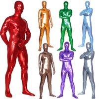 Unisex Shiny Metallic Zentai Skin Tight Full Body Suit Solid Color Wetlook Spandex Lycra Unitard Costume Halloween Fancy Dress