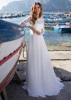 Luxury Cheap Beach Wedding Dress 2021 A-Line White Chiffon Appliques Summer Bridal Gown Long Sleeves Simple Vestido De Noiva A0602
