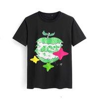 21s Spring / Summer Luxo Camiseta Europa Paris Monte Fuji Cloud Flash Impressão Moda Masculina de Algodão de Algodão