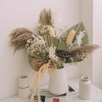 Decorative Flowers & Wreaths 1set Natural Dried Palm Leaf Fan Plant Tree Leaves Home Garden Wedding Arrangement Party Living Room Decor