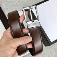 Cinto masculino de moda acessórios cintos de alta qualidade clássico preto marrom 3,4 cm de largura com caixa de presente