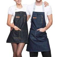 Unisex Denim Önlük Cepli Erkekler Ve Kadınlar için Şef Mutfak Restoran BARBEKÜ Izgara Pişirme Kahve Dükkanı Stüdyo İş Giysileri 210914