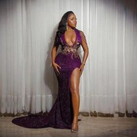 Party Dresses Purple Sexy Sequinied Prom Side Split Deep V Neck Tassels Lace Appliques Evening Dress Mermaid African Gowns