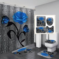 Shower Curtains Home Decor Waterproof Curtain Set With 12 Hooks Toilet Covers Bath Mat For Bathroom Non Slip Rug Carpet Polyester Fabric