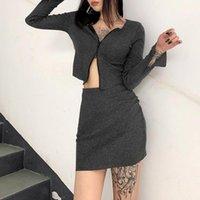 Women's Tracksuits Snug Stretch Material Skirt 2 Sets Women Sexy Double Zippers Sweatshirts Matching Set Clubwear Split Long Sleeve Tops