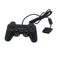 Controller di gioco Joysticks Black Wired Controller 1.8m Double Remote Joystick Gamepad Joypad per 2 PS2 K5 Pratico
