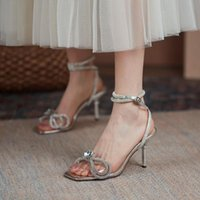 Sandals Lucyever Big Rhinestone Bowtie High Heels Women Elegant Diamond Strap Silver Pumps Woman Square Toe Thin Slides