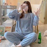 Finetoo 2 Parça Kış Kadınlar Kalınlaşmak Sıcak Yumuşak Kadın Flanel Pijama Set Uzun Kollu Pijama Kızlar Bayanlar Pijama Q1201
