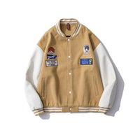 Men's Jackets Harajuku Varsity Men Vintage Baseball Coat Unisex Spring And Autumn Loose Casual Bomber Jacket Couple Streetwear Uniform