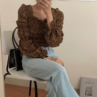Alieny kitty moda sexy femenino camisas cuadrado collar de hojaldre mangas largas exquisito estilo francés fino 2021 otoño mujeres blusas mujeres