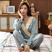 كبيرة الحجم البيت ارتداء النساء ملابس النوم الربيع الخريف منامة القطن نوم مجموعة مثير الخامس الرقبة البجامة السيدات منامة البدلة