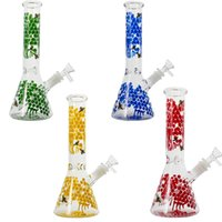 Glass Bong Colorful Hookah 10 Inch Water Pipe Smoking Accessories 18mm Female Joint Straight Tube Oil Dab Rig With Funnel Bowl Diffused Downstem Hookahs