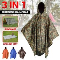 Tents And Shelters 3 In 1 Portable Sunshade Camping Tarp Ground Mat Raincoat Outdoor Waterproof Rain Poncho Backpack Cover For Hiking Picnic