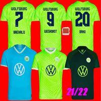 21 22 Vfl Wolfsburg كرة القدم الفانيلة المنزل بعيدا 2022 ستيفن بريالو ميخبي فيليب بياليك فثرست باكو جويلافوجوي أرنولد Xver جينكز