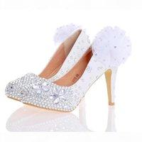 Femmes rouges blanches talons hauts argentés strass femme chaussures chaussures de mariée à la main chaussures de mariée avec appliques chaussures de demoiselle d'honneur