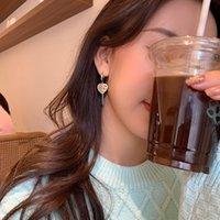 Love Advanced English Tag Earrings 2021 موضة جديدة الكورية مزاجه أقراط 925 سير نساء صافي أحمر