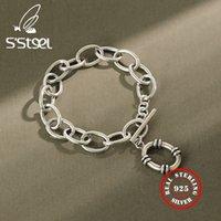 S'steel Braccialetti per le donne retrò argento braccialetto charms charms catena sterling argento 925 braccialetto monili braccialetto argento massiccio pour femme 210525