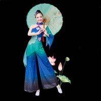 무대 착용 도매 중국 민속 댄스 의상 칼라 팬 투명 슬리브 Yangko XXXL FF010 YQ