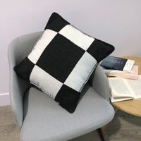 H letra almohada nórdica casa casera tejida jacquard personalizado 2021 naranja negro blanco manta cojín sofá lana