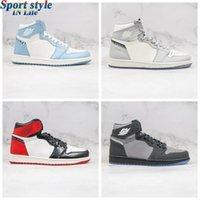 D x Jumpman 1 Высокий 1с Серый светло-голубой новый мужской баскетбол для баскетбола D'или Luxurys дизайнеры кроссовки с оригинальными лучшими 2021 трек тенниса