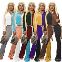 Women Tracksuits Velvet Outfits Two Piece Set Designer Contrast Color Long Sleeve Hoodie Zipper Jacket Bell Bottom Trouser Velour Sportwear
