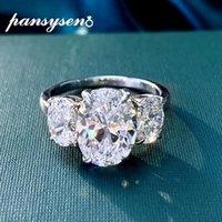 100 % 925 스털링 실버 타원형 컷 시뮬레이션 Moissanite 보석 웨딩 약혼 다이아몬드 반지 도매 커플 링 클러스터
