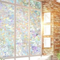 Window Stickers 45 X100cm Non-Adhesive Static 3D Irregular Pattern Colorful Decorative Privacy Sun Protection Rainbow Films Glass Stick