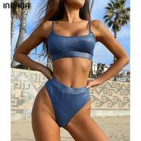 Ingaga Push Up Bikinis Women's Swimsuits High Waisted Swimwear Solid Ribbed Biquini Bathing Suits High Leg Beachwear 2021 New Q0520