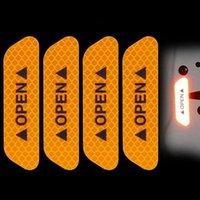 EAFC 4PCS Fluorescent Voiture ouverte Bandes réfléchissantes Étanche Avertissement Stickers Nuit Driving Sécurité Éclairage Lumineux Bandes lumineuses