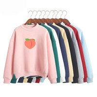 Women's Sweatshirt Fruit Cartoon Peach And Velvet Fabric Warm Effect Round Neck Long-sleeved Hoodies & Sweatshirts