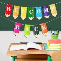 Volver a la escuela Bandera Dibujo Lápiz Letra Arco Iris Colores Banner Decoración de la Aula de Interior Dibujo Volver a Escuela Fiesta Decoración Escena Diseño G795B0i