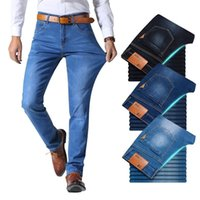 Брат Ван классический стиль мужчины бренд джинсы бизнес случайные стрейч тонкие джинсовые брюки светлые синие черные брюки мужские 210317