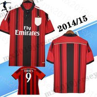 2014 2015 Milan Kaka Home Hemd Torres # 9 Retro Fussball Trikots Honda El Shaarawy de Jong Muntari Pazzini 14 15 Classic Football Shirt