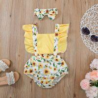 Born Infant Baby Girls Bodysuits Dot Sunflowers Printing Backless Bow Headwear Suspender Romper Bodysuit Children Clothing Rompers