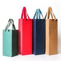 2018 새로운 크리 에이 티브 포장 가방 레드 와인 오일 champange 병 캐리어 선물 홀더 와인 packing1 652 r2에 대 한 문자열을 가진 종이 선물 상자