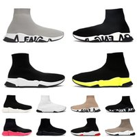 Top Quality Mulheres Mens Luxury Designer Sock Shoes Balen Graffiti Clear Sole Volt Sapato Casual Triplo Branco Preto Pink Sports Sneakers Lace Up Socks Botas Off Treinadores