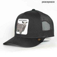 Bons de beisebol personalizzato 5 pannello blu cotone blu pecore animale patch maglia camionista cappello cappello