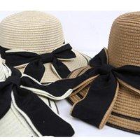 المرأة الصيف القش قبعة كبيرة القبعات الشمس المرنة القبعات واسعة قابلة للطي شاطئ كاب القوس الشريط مزاجه الأشعة فوق البنفسجية حماية لقضاء عطلة