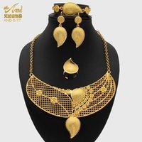 Orecchini collana aniid gioielli set donne oro colore arabo colore gioielli gioielli brunetti accessori 24k regali anelli femmina etiopica Dubai
