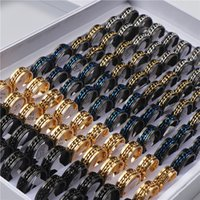 20pcs lot Cool Band Men Spinner Chain Stainless Steel Rotatable Rings Jewelry Party Gifts Mix Color Wholesale