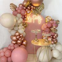 Сторона украшения 102 шт. Розовый золотой воздушный шар гирлянды arch комплект свадьба день рождения рождения декор детские детские душ латекс конфетти баллон
