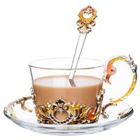 Wine Glasses Vintage Coffee Cup Saucers Set Heat-resistant Handgrip Style Enamel Round Glass Cups Water Drinkware Flower Tea