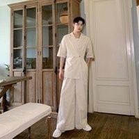 Men's Pants Men Cotton Linen Jumpsuits Short Sleeve Casual Wide Leg Male Women Japan Streetwear Vintage Pant Overalls Trousers