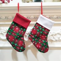 Snowflake Printed Xmas Sock Gift Bag Plaid Christmas Stocking Home Decor Party Festival Decorations