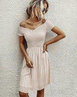 ラブシャックファンシーブライドメイドドレス夏2021ファッションストライプワンショルダー半袖レディースクロームハーツセルフポートレートドレススーツスカート