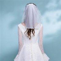 Brautschleier Einfache kurze Tüll Hochzeit Eine Schicht mit Kamm Weißer Elfenbeinschleier für Brautzubehör