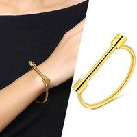 Punk smycken pop it Bracele armband nagelbangle manschett s för kvinna rostfritt stål mans handled 2021