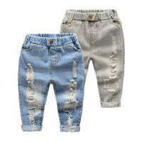 Kinder gerade Bein Jeans Kleine Baby Jungen Mädchen Mode gerissen Western Jeans Denim Hosen Ripped Löcher Jeans Hosen 768 S2