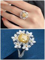 6 fiori 2 giallo cristallo citrino pietre preziose di diamanti anelli per le donne in oro bianco argento gioielli color gioielli bague regali di nozze